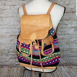 Tribal Aztec Boho Hippie Leather Backpack